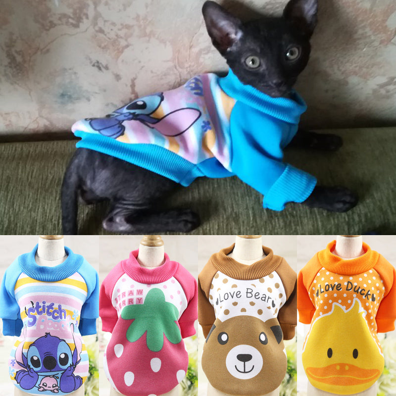 Cartoon Pet Cat Costume Winter Warm Clothes Cutie Pets
