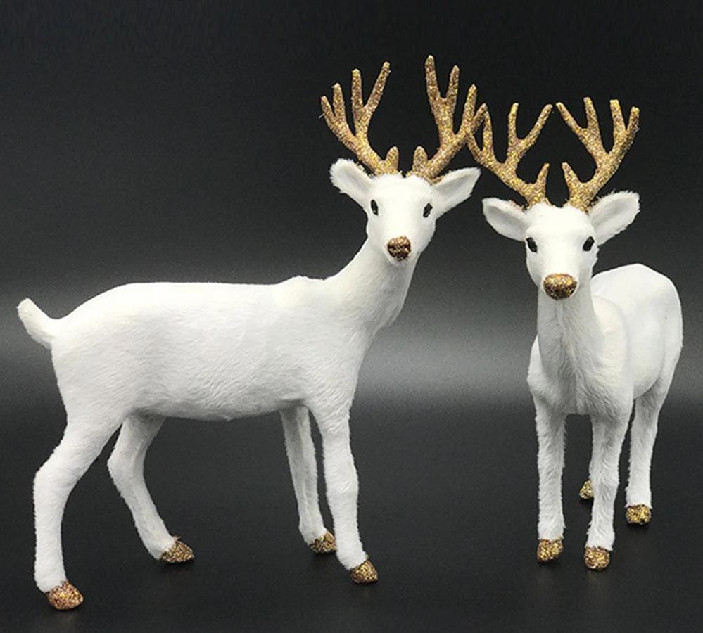Christmas  White Reindeer  Elk Plush Decorations Cutie Pets