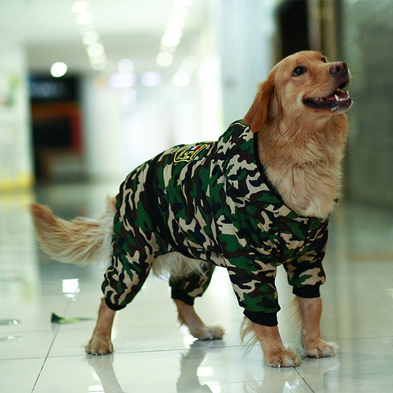 Camouflage Large Dog Clothes Winter Warm Chic Jumpsuit Hoodie Cutie Pets