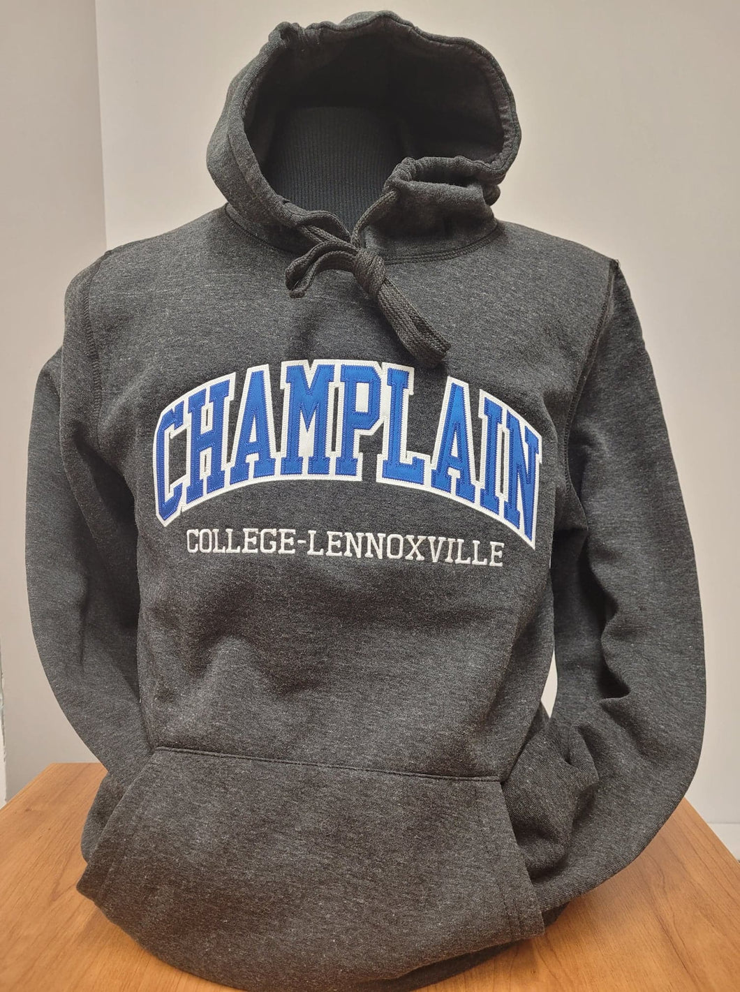 Charcoal Pullover Campus Hoodie with Applicae Embroidery