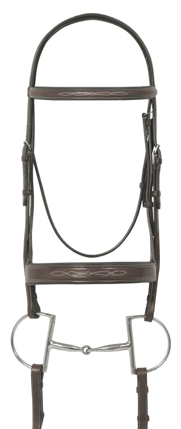 Ovation® Elite Collection- Fancy Raised Traditional Crown Flat Wide Nose Padded Bridle with Fancy Raised Lace Reins