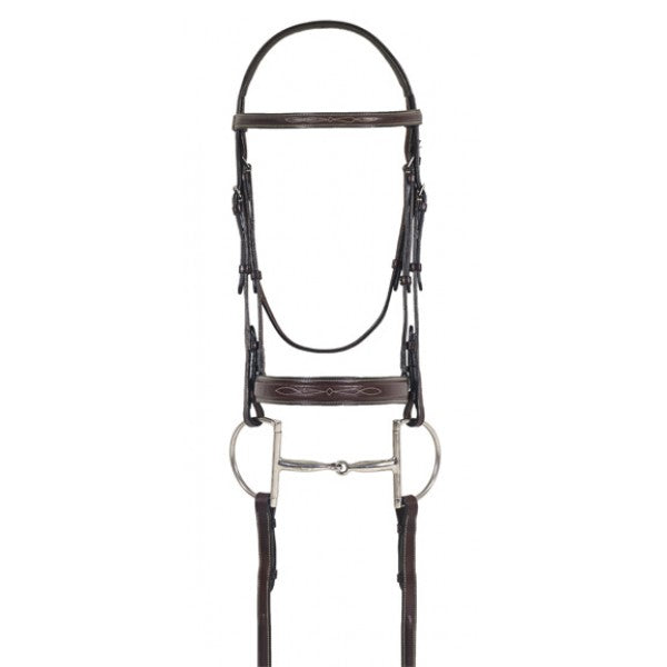 Ovation® Elite Collection- Fancy Raised Comfort Crown Flat Wide Nose Padded Bridle with Fancy Raised Laced Reins