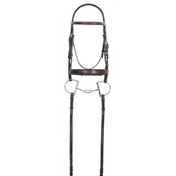 Ovation® Classic Collection- Fancy Raised Comfort Crown Wide Noseband Bridle with Fancy Raised Laced Reins
