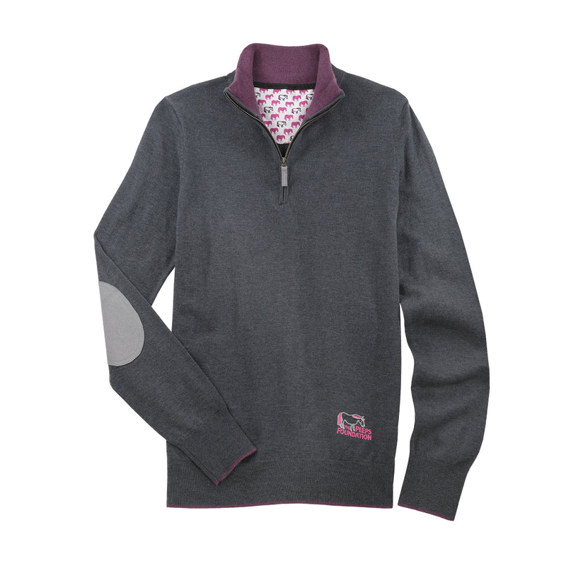 "Peeps Dark Grey ""Trey"" Quarter-Zip Sweater"