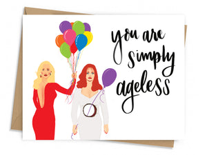 Front of the card features Meryl Streep and Goldie Hahn in the poses that match the movie poster. Meryl Streep is holding a bouquet of balloons with one going through the hole in Goldie Hahn's stomach.