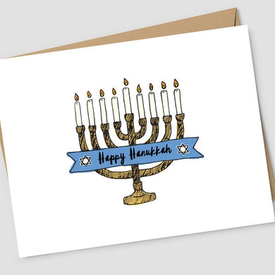 hand sketched menorah with blue ribbon in the middle