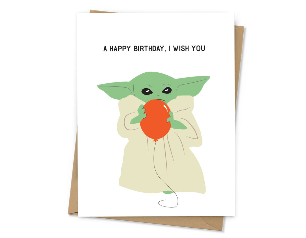 Baby Yoda Birthday Card