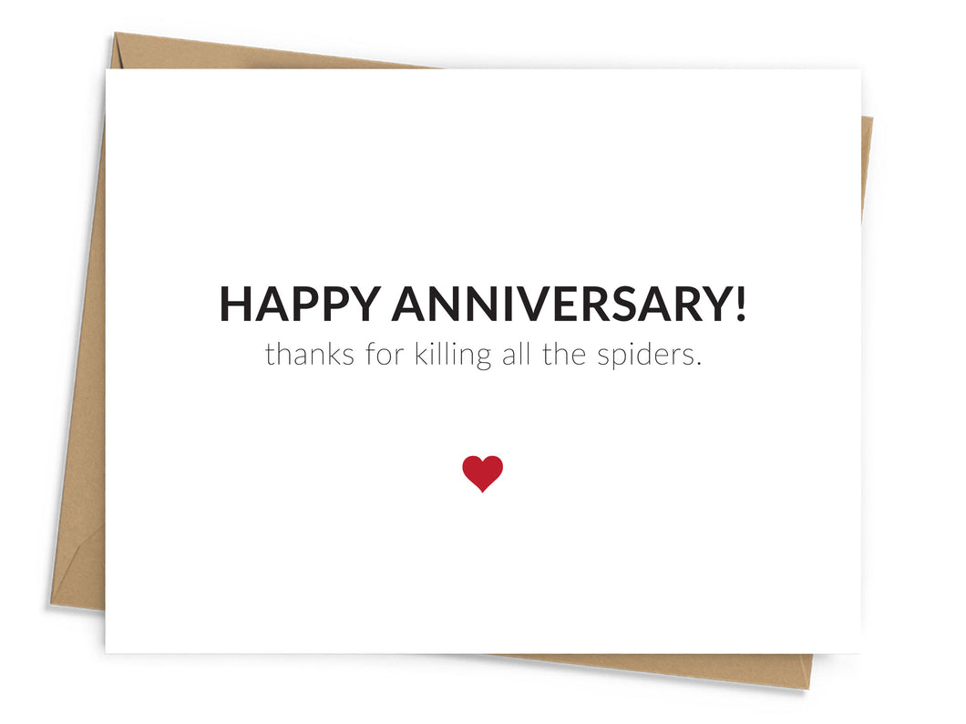 Killing Spiders Anniversary Card