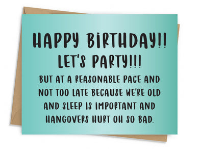 Let's Party Reasonably Birthday Card