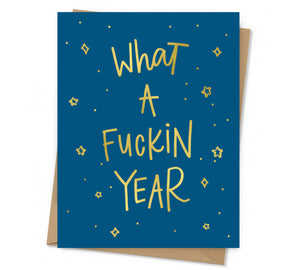 gold foil text and stars on navy background