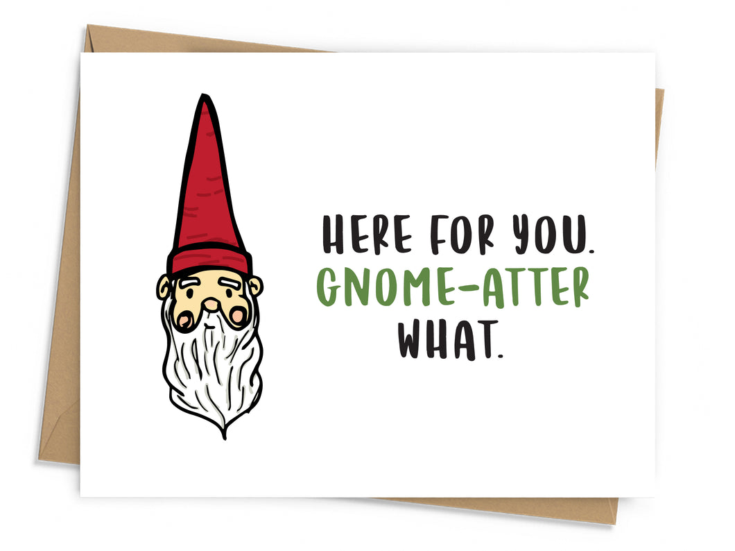 illustrated gnome with black and green text on white background