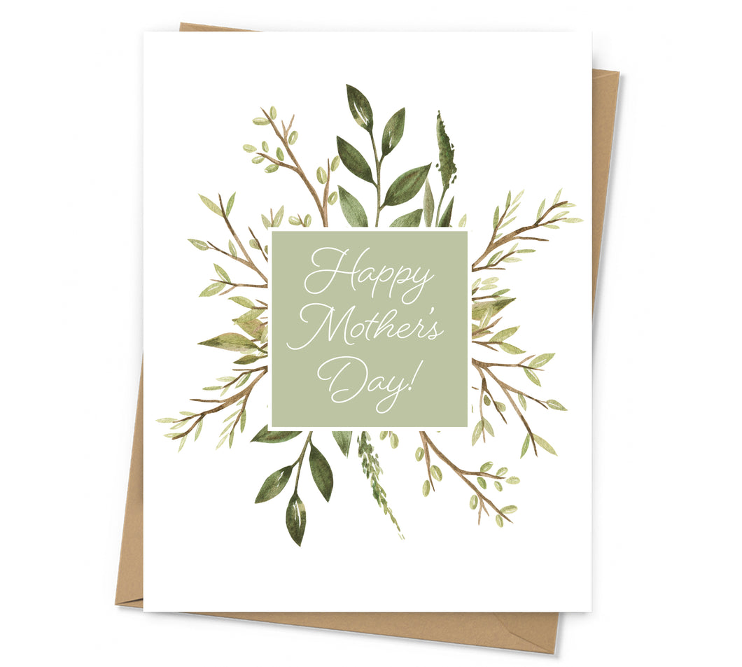 Square Greenery Mother's Day Card