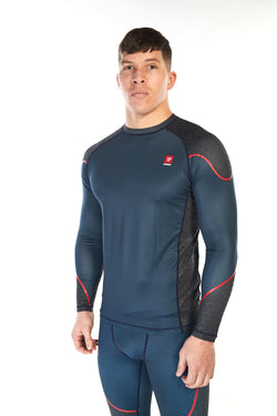 Man wearing mid-blue coloured unisex long sleeve training top with red piping across the shoulders and forearms