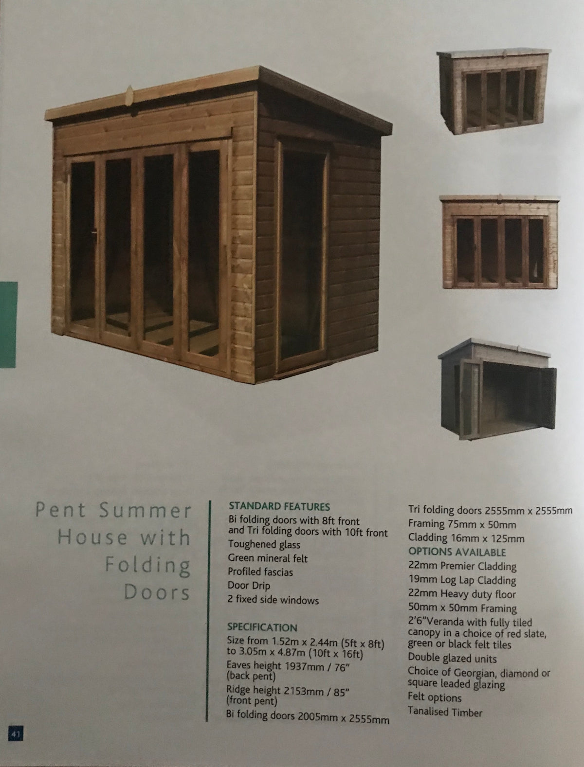 Pent Summerhouse with Folding Doors