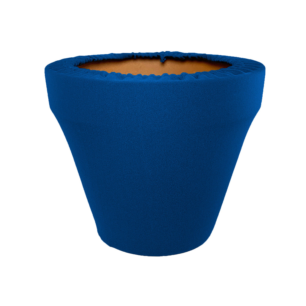 Mykonos Blue Flower Pot Sleeve 10 in, terra cotta, clay pot cover