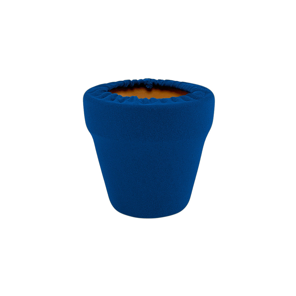 Mykonos Blue Flower Pot Sleeve 4 in, terra cotta, clay pot cover