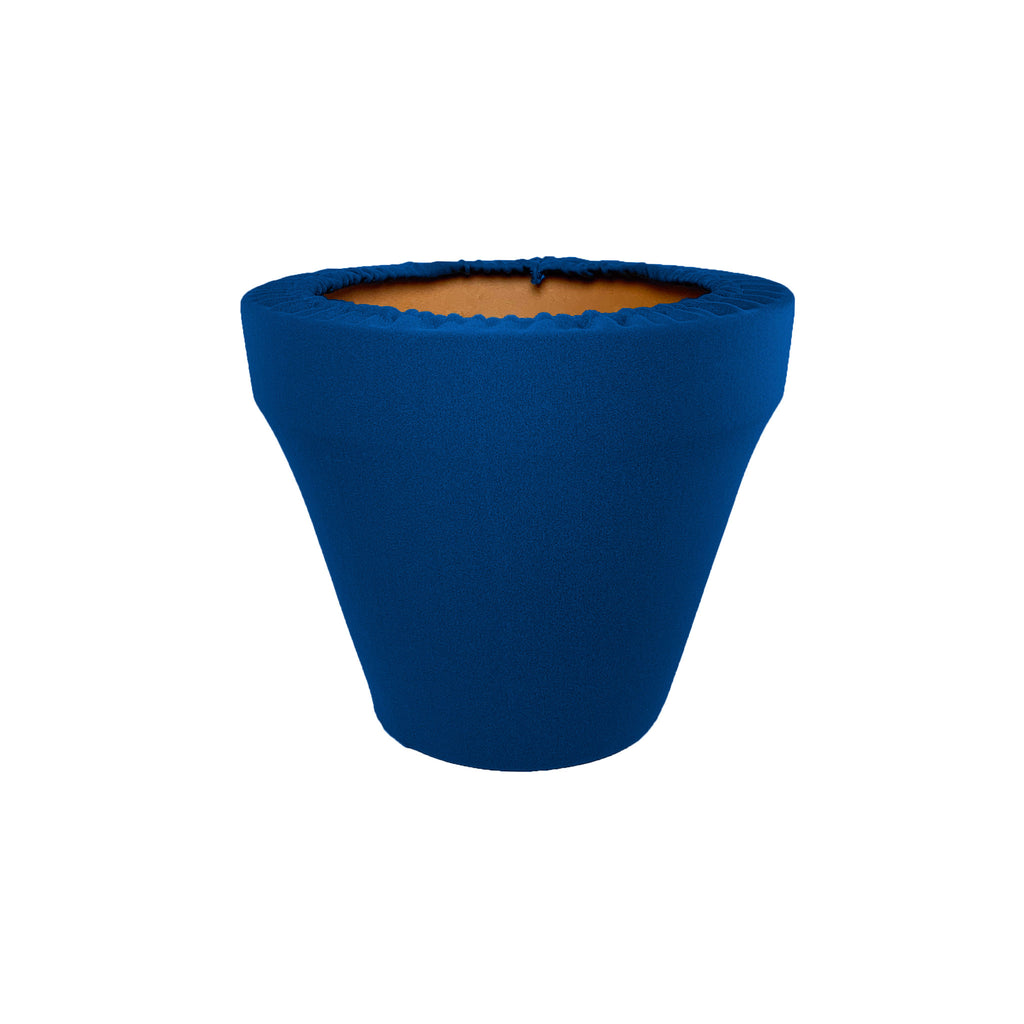 Mykonos Blue Flower Pot Sleeve 6 in, terra cotta, clay pot cover