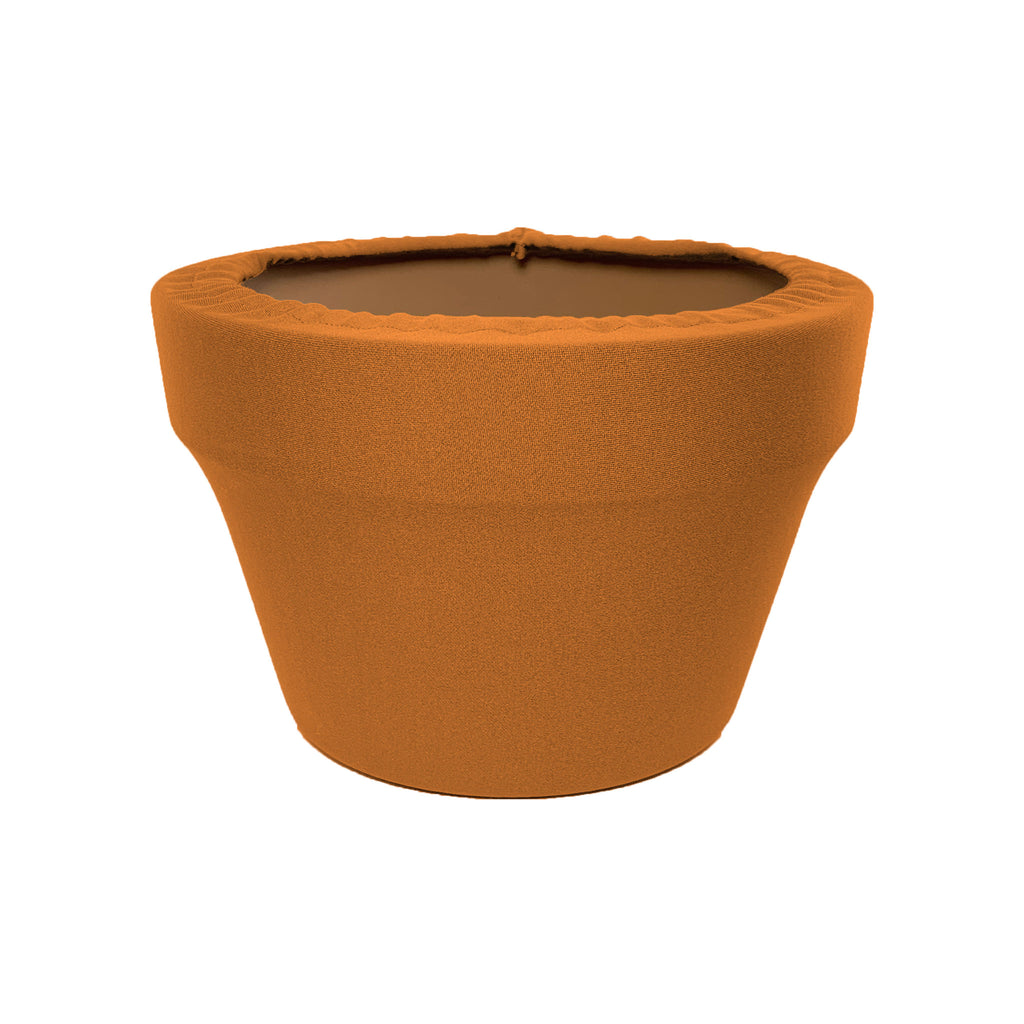 Sugared Almond Fern Azalea Pot Sleeve 8 in, terra cotta, clay pot cover