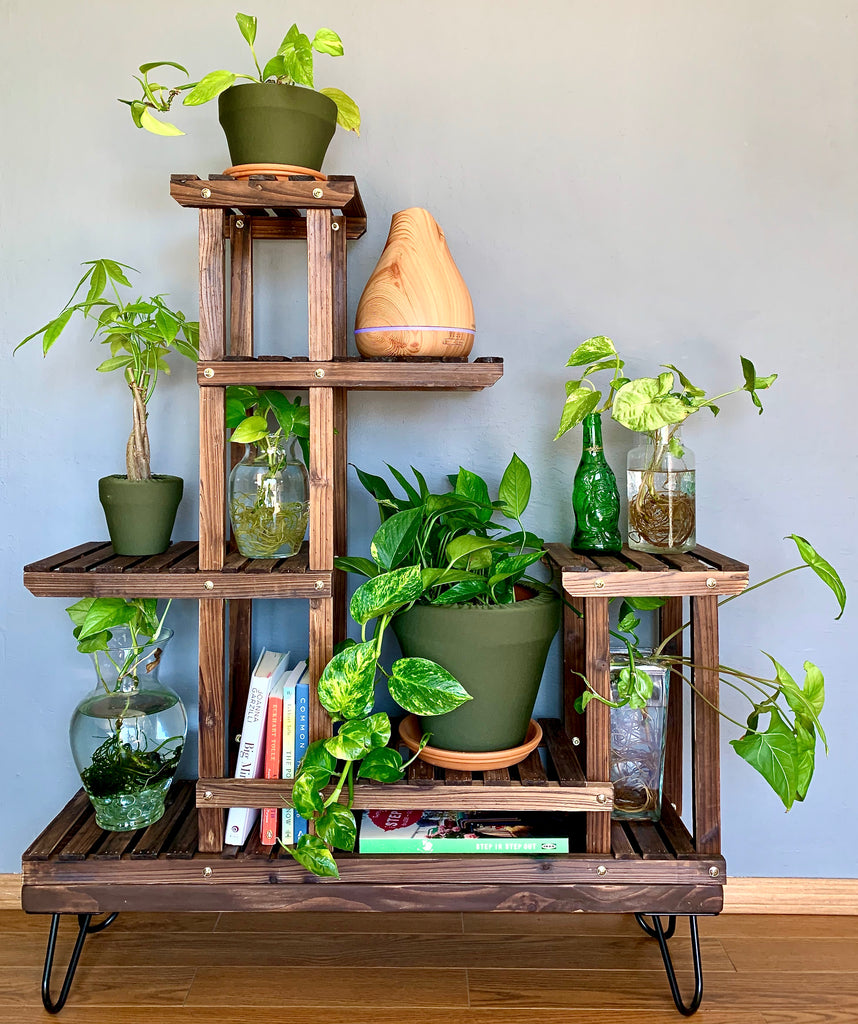 Terra cotta, clay pot covers on plant stand