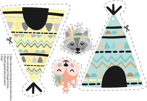 Tipi garland with fox and raccoon