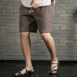 Men's Vintage Summer Comfy Beach-Style Solid Color Natural Linen Shorts