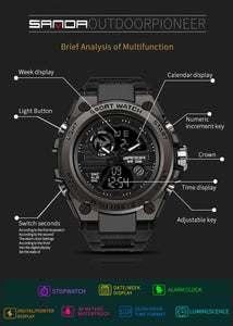 [With Free Bracelet]Outdoor sports dual display electronic watch