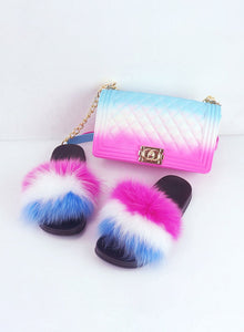 2020 Hot Sale Rainbow Handbags With Matched Fur Slides For Women