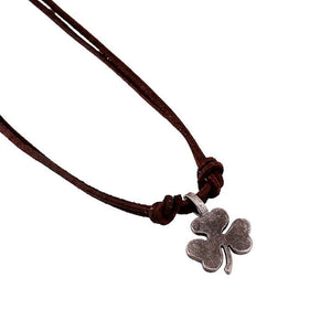 Men's Vintage Street Style Clover Genuine Leather Necklace