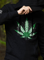 Load image into Gallery viewer, mean hoodie black marijuana leaf weed cannabis pot ganja herb dab