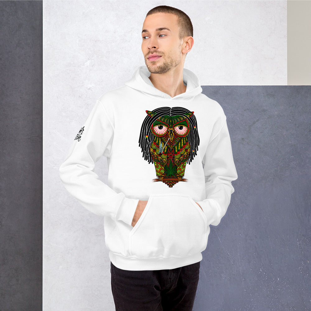 stoned owl hoodie men marijuana weed cannabis smoking rasta dreadlocks