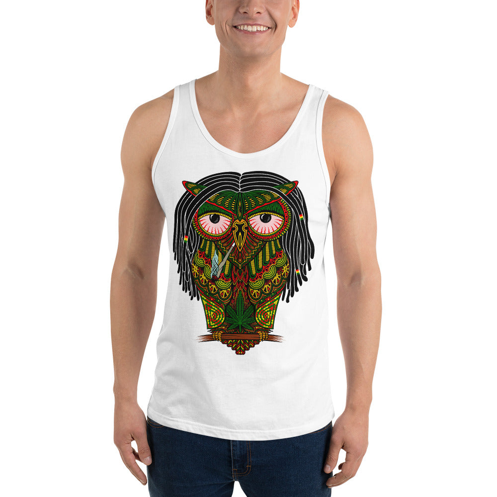 stoned owl rasta weed marijuana cannabis smoking ethnic illustration tank top dreadlocks