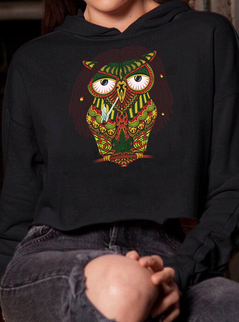 cropped hoodie owl women stoned marijuana weed urban cannabis smoking