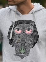 Load image into Gallery viewer, stoned owl hoodie men marijuana weed cannabis smoking rasta dreadlocks