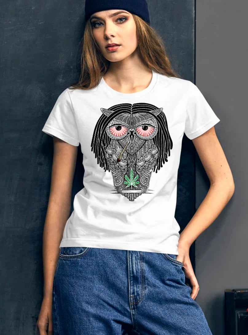 stoned owl women tshirt marijuana weed smoking red eyes
