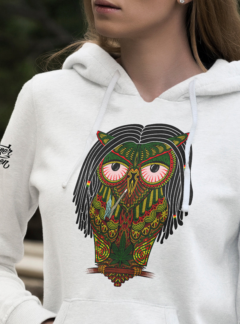 stoner hoodie women owl joint weed marijuana cannabis smoking