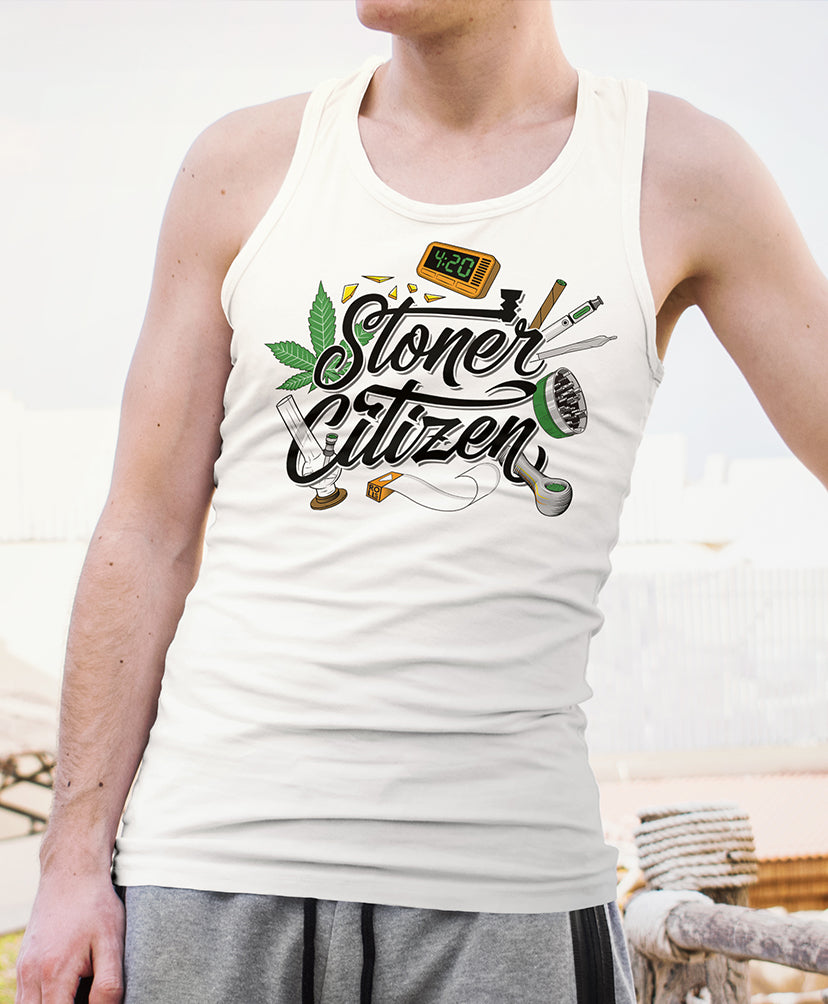stoner tank top men white marijuana weed cannabis joint bong pipe grinder blunt vape 420