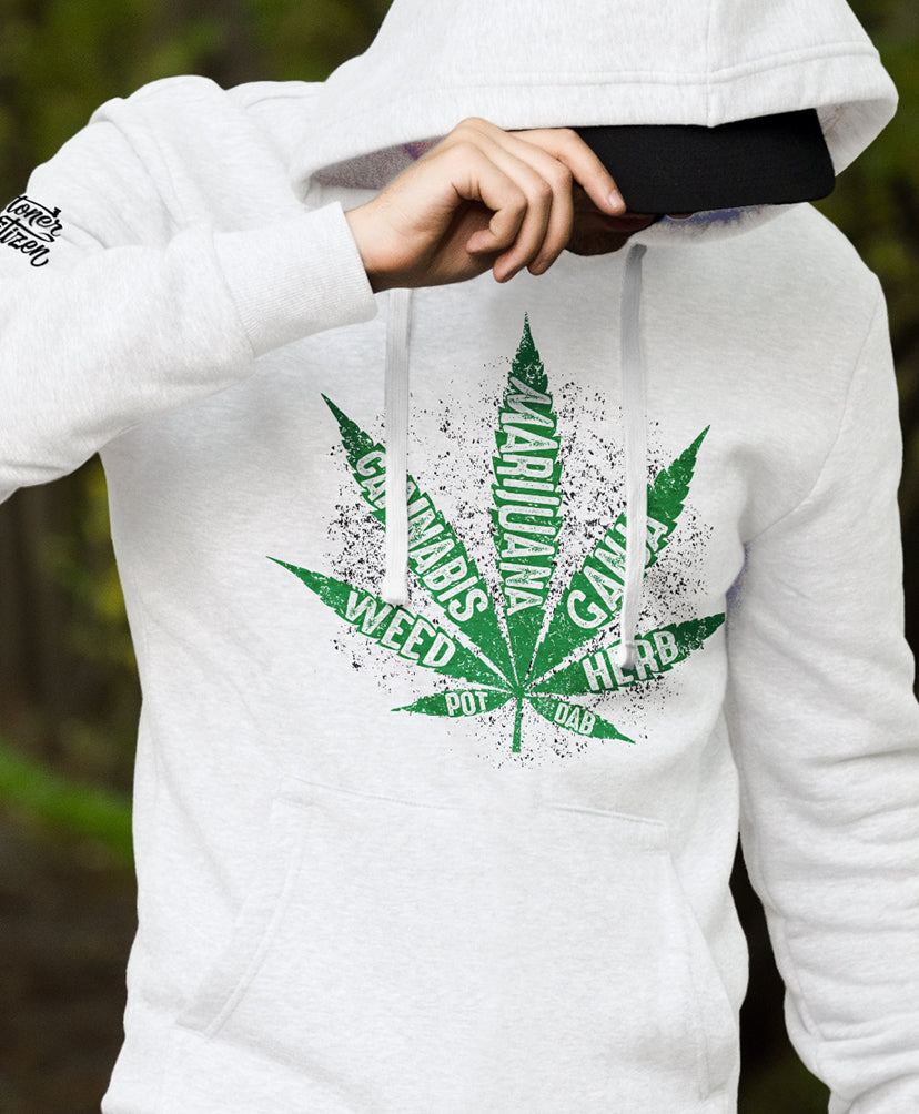 mean hoodie white marijuana leaf weed cannabis pot ganja herb dab