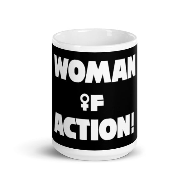 WOMAN OF ACTION! coffee mug