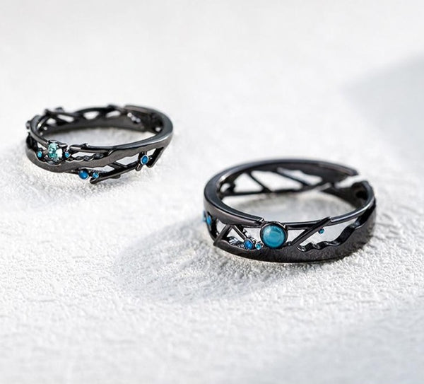 """Encounter"" Black S925 Sterling Silver Ring"