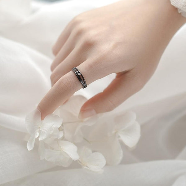 """Until The End"" Black S925 Silver Sterling Ring"