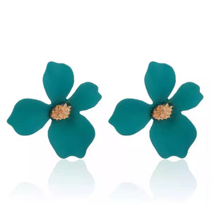 Floral stud earrings (Emerald)