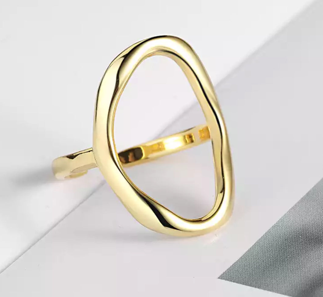 Geometric rings (size adjustable) gold