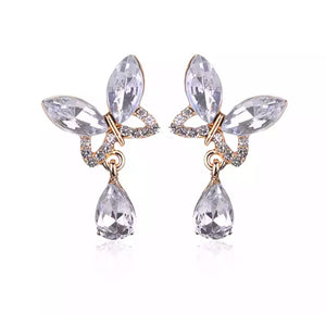 """Grace"" butterfly earrings (Crystal)"