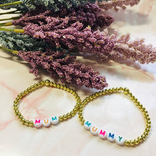 Load image into Gallery viewer, Personalised beaded bracelets (Gold)