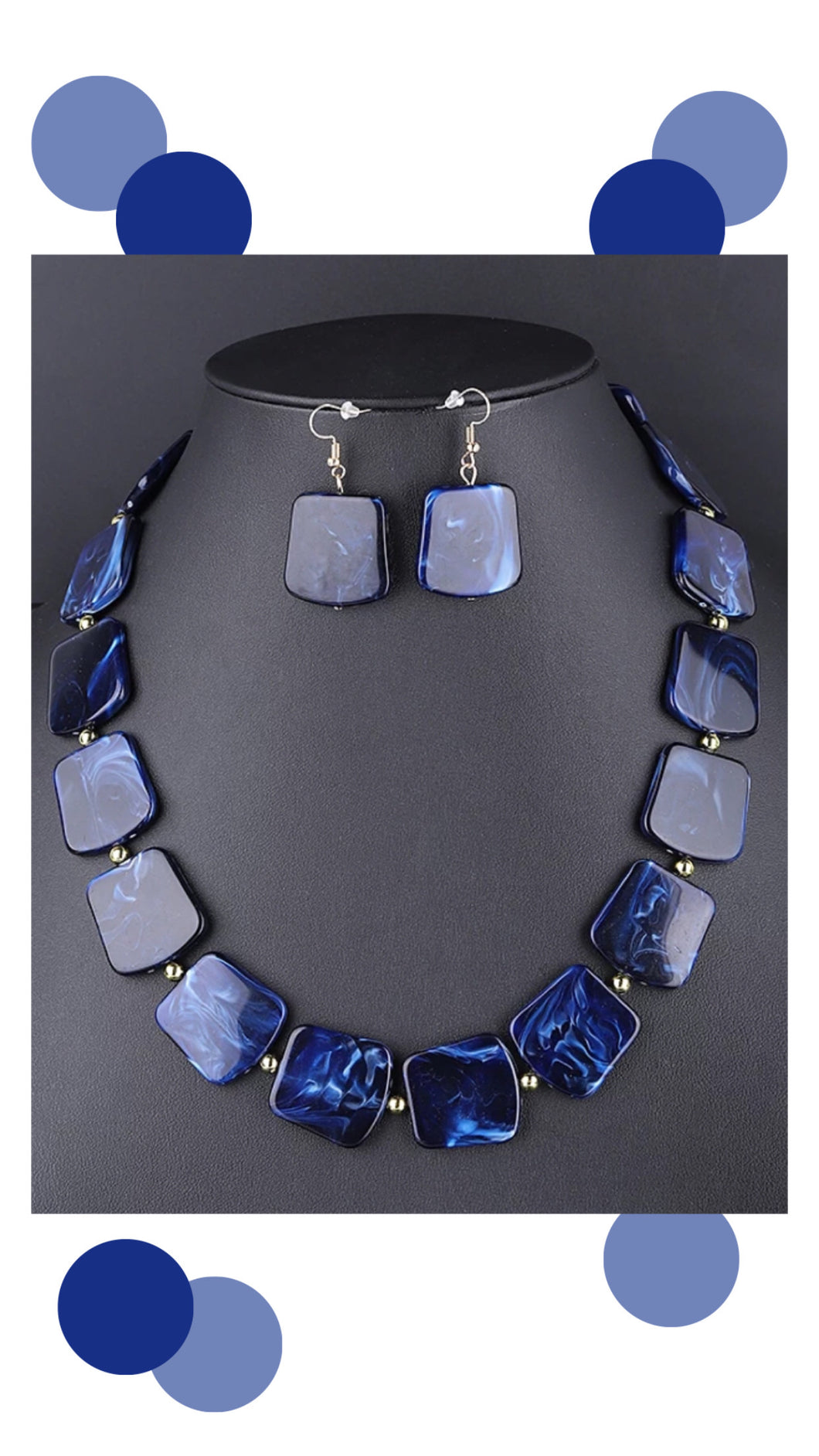 Nora necklace & earring set (Blue)