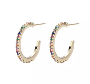 Rainbow hoop earrings (Silver)