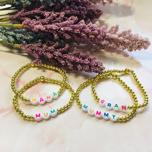 Personalised beaded bracelets (Gold)