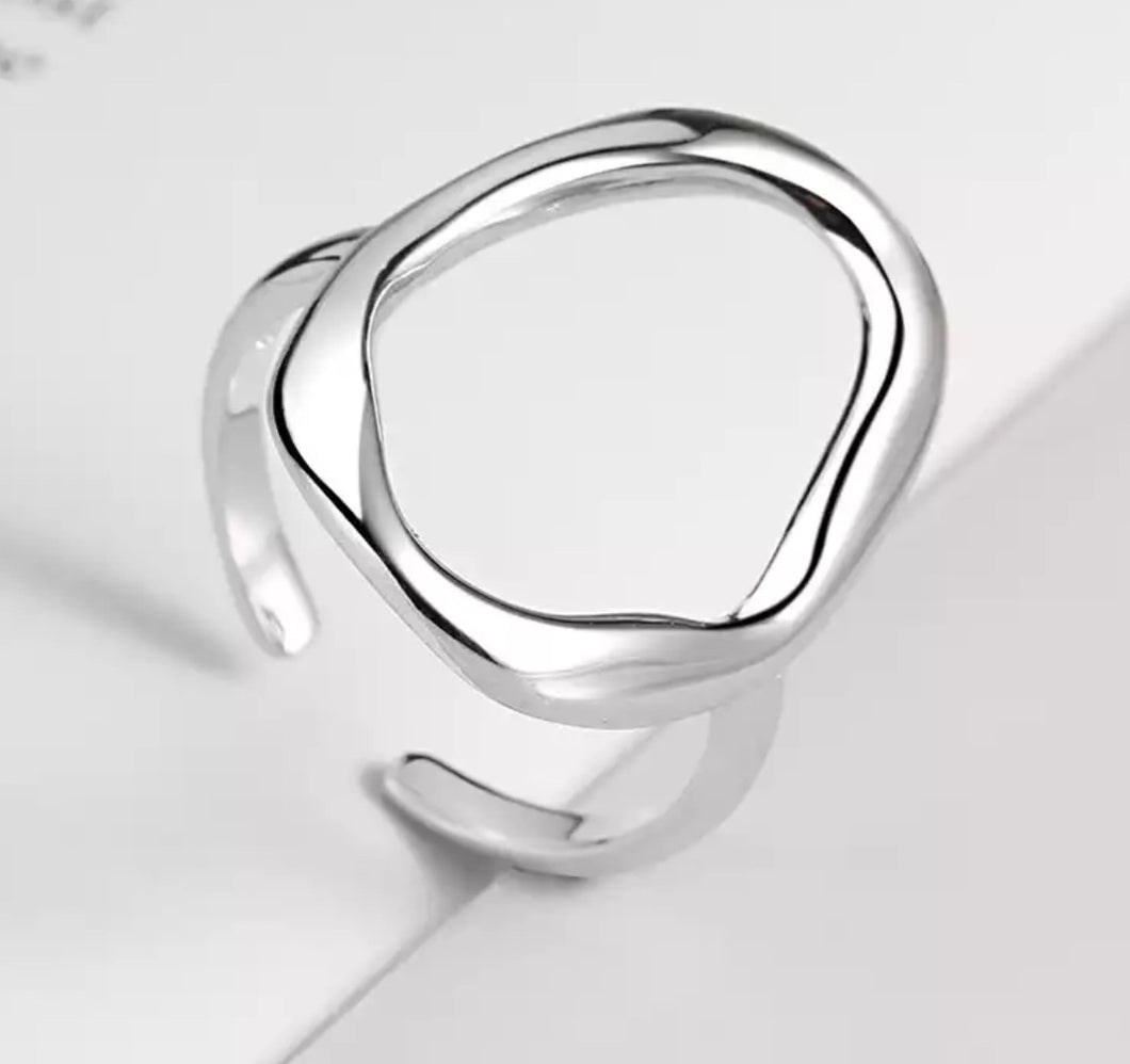 Geometric ring (size adjustable) Silver