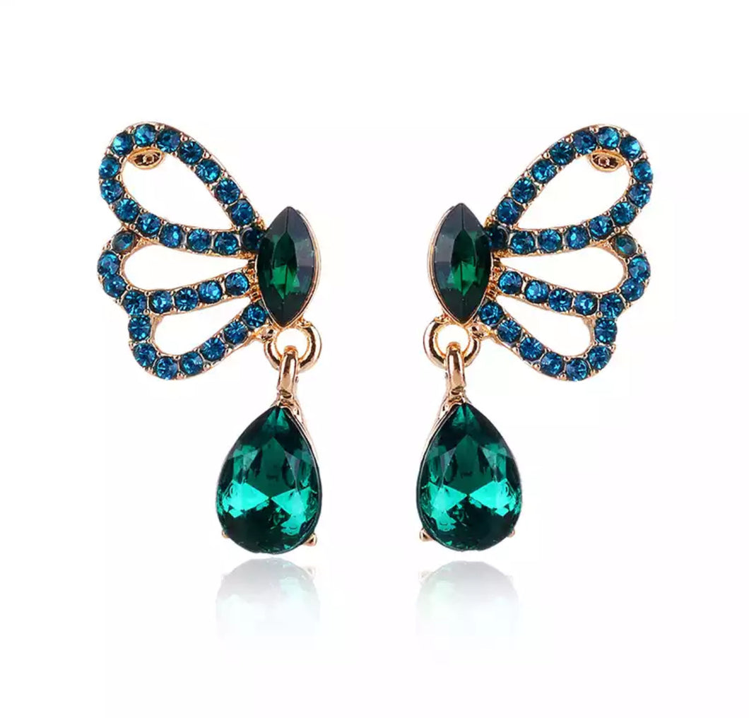 """Chloe"" butterfly earrings (emerald)"