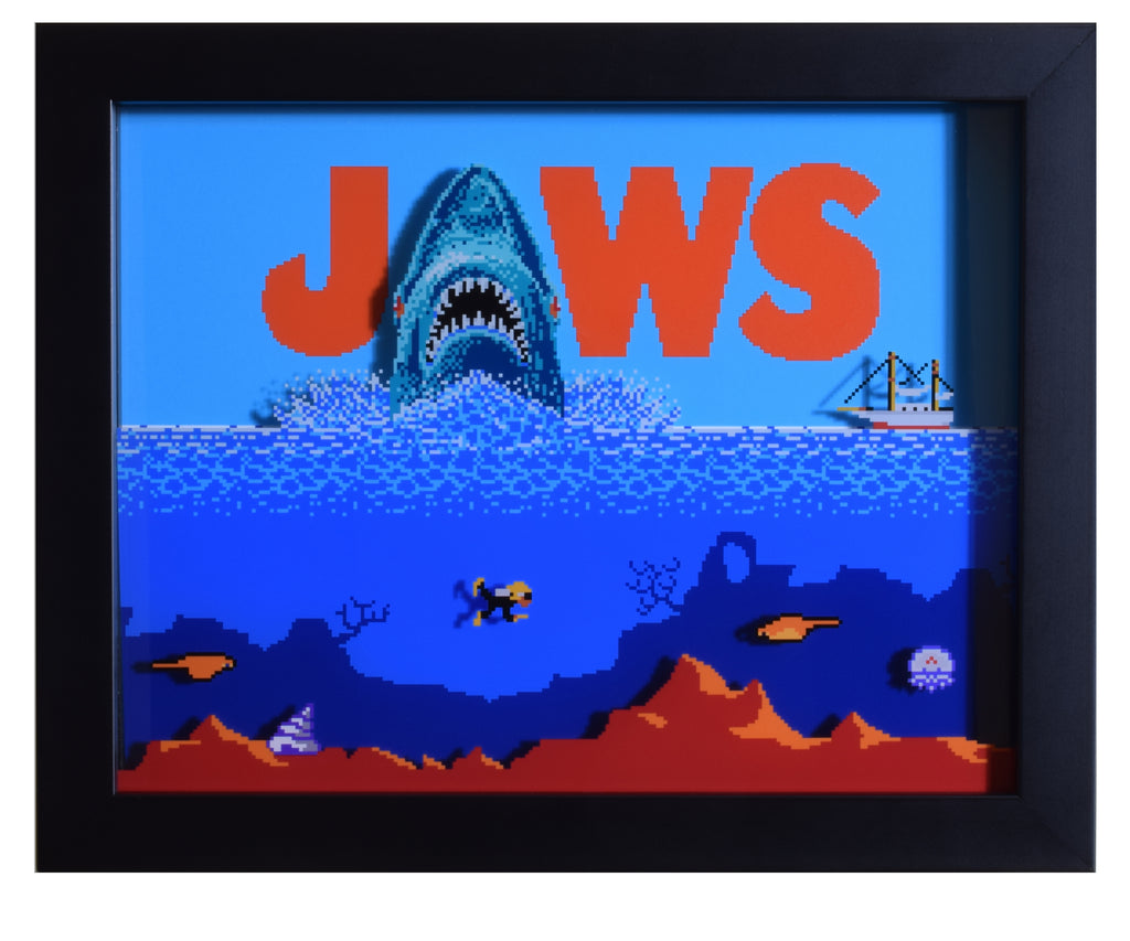 "Jaws (NES) - ""Title Screen"" - 3D Shadow Box"